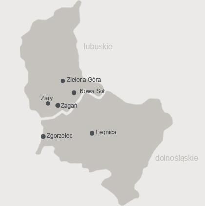 mapa rozmieszczenia salonów z garniturami - województwa dolnośląskie, lubuskie